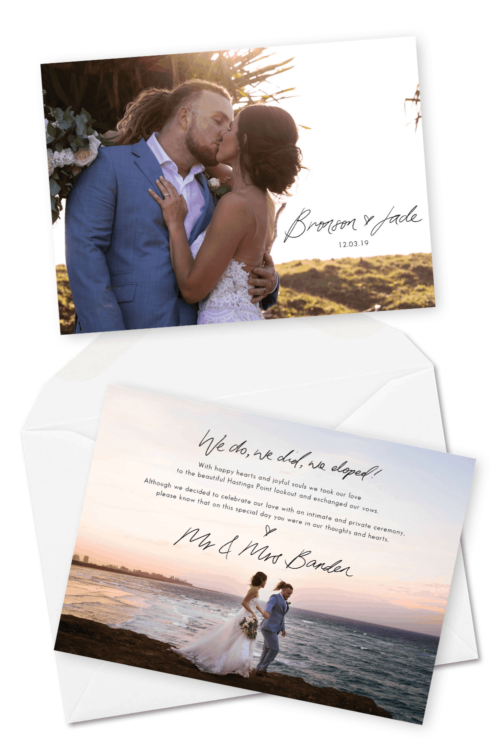 Wedding Elopement Ideas Simple Elopement Announcement Photo Ideas Lady Bella Australia For the Love of Stationery Luxe Elopements Byron Bay