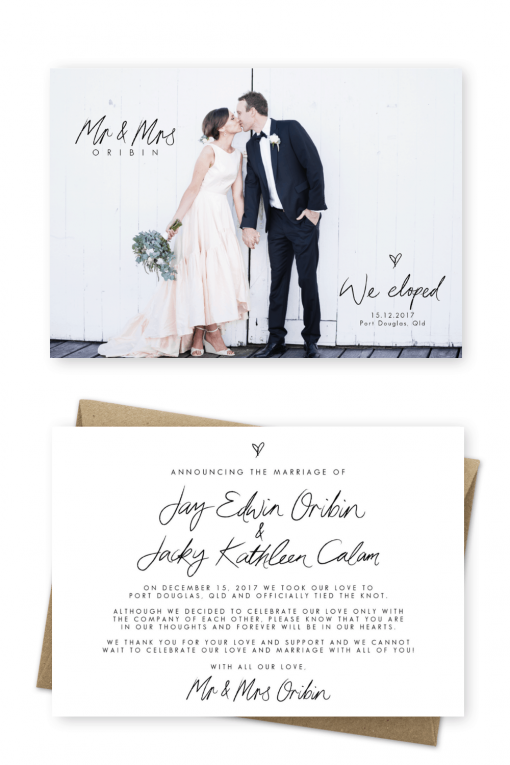 Wedding Elopement Ideas Simple Elopement Announcement Wording Cards Elopement Announcement Photo Ideas For the Love of Stationery Tulieve Photography