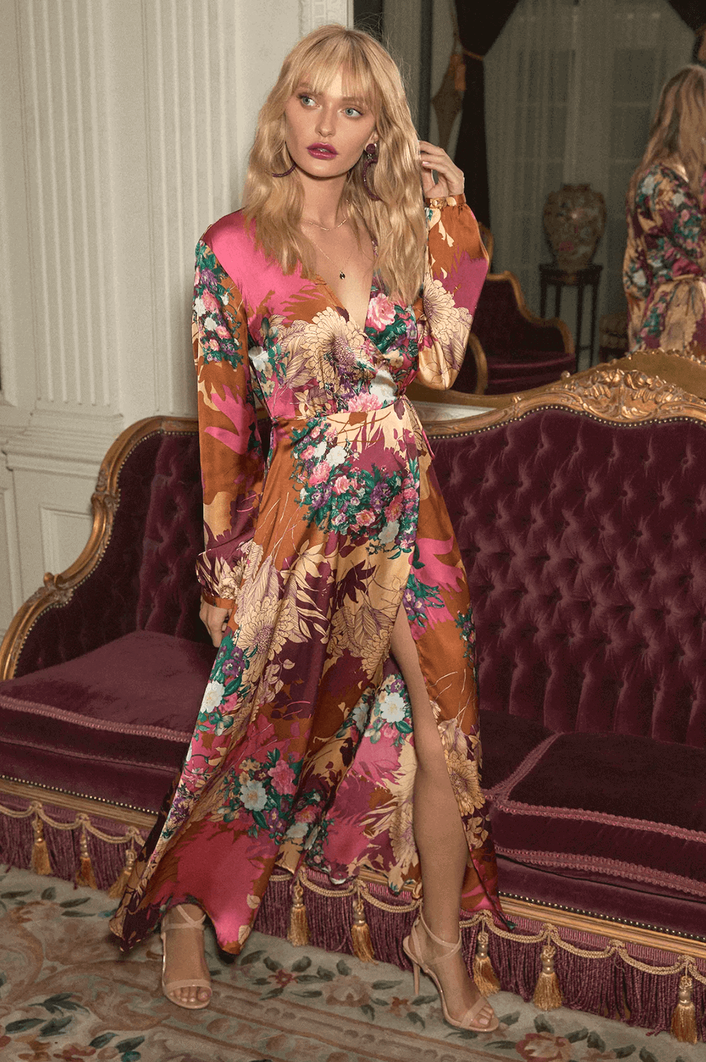 Wedding Guest Outfit Burgundy Floral Print Satin Wrap Maxi Dress What to Wear to a Wedding (1)