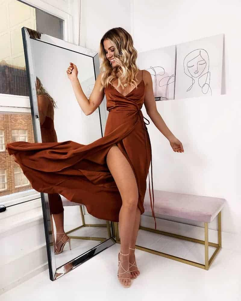 Wedding Guest Outfits Copper Satin Brown Dress What to Wear to a Wedding as a Guest