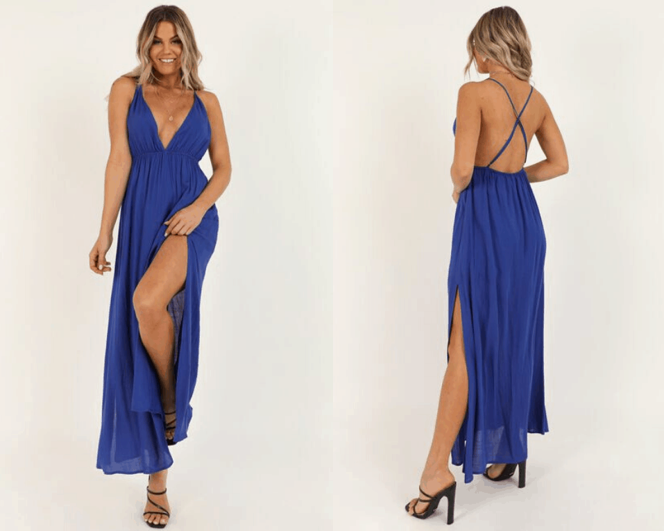 Wedding Guest Outfits Electric Cobalt Blue Open Back Dress What to Wear to a Wedding as a Guest