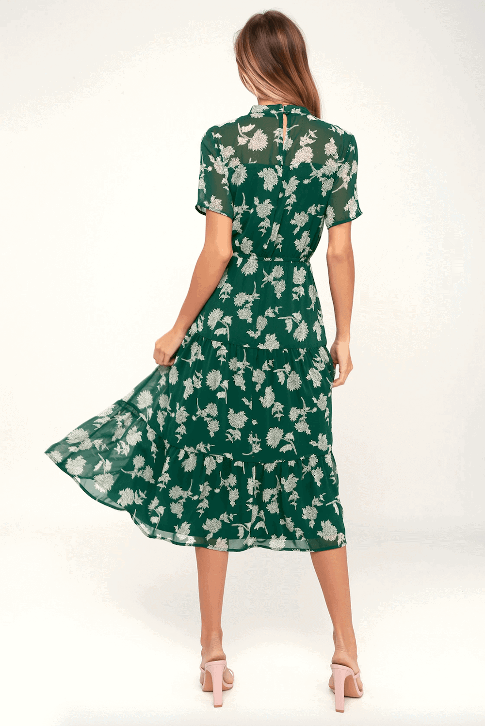 Wedding Guest Outfits Green Floral Print Dress What to Wear to a Wedding as a Guest 2 (1)