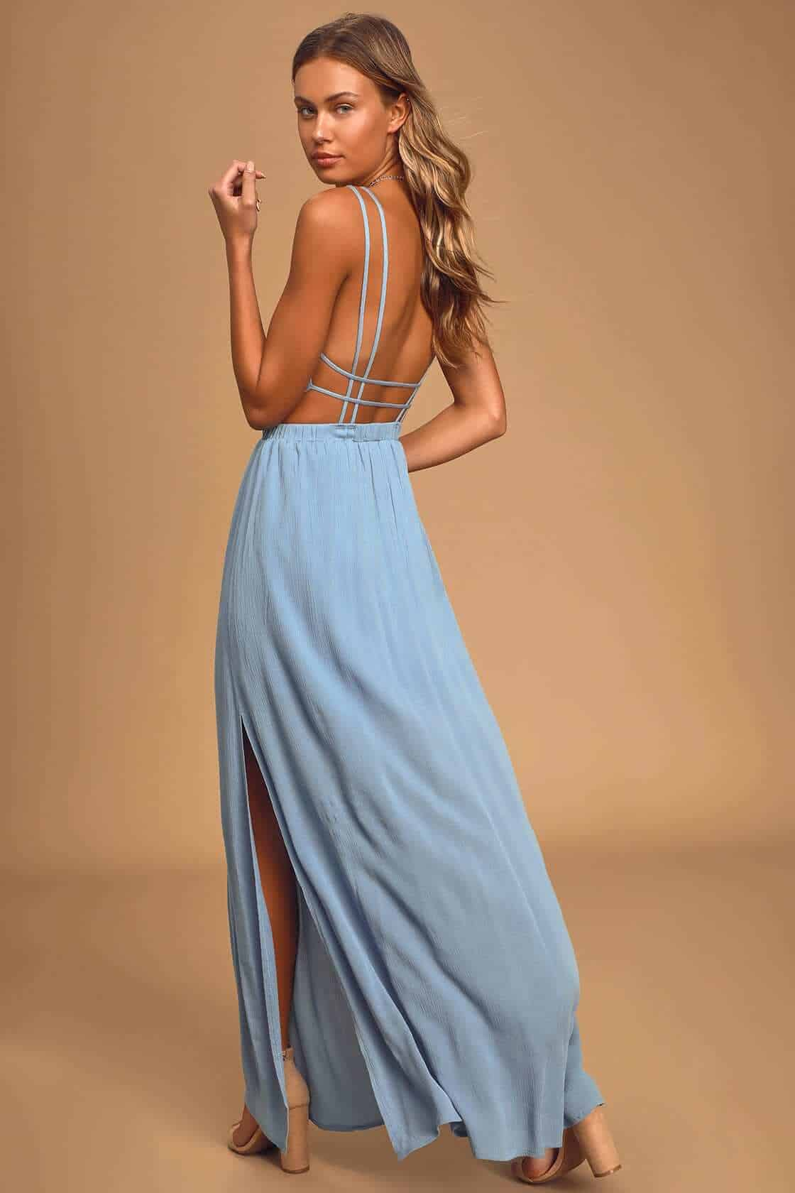 Wedding Guest Outfits Light Blue Backless Maxi Dress What to Wear to a Wedding as a Guest (1)