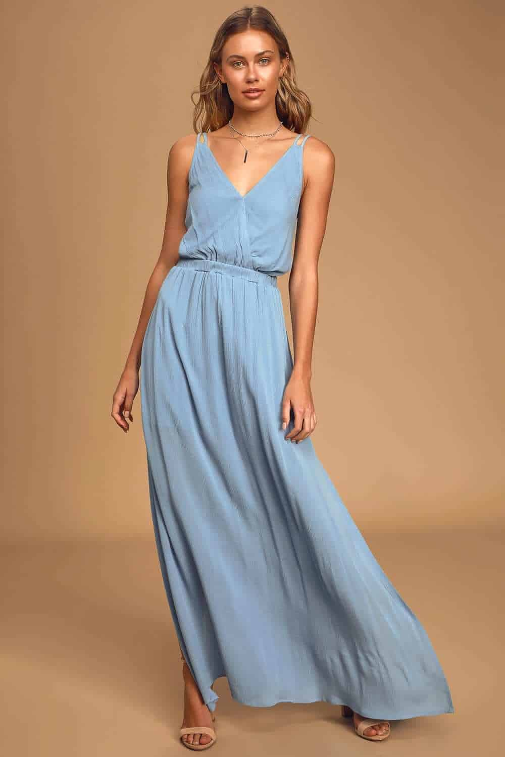 Wedding Guest Outfits Light Blue Maxi Dress What to Wear to a Wedding as a Guest (1)