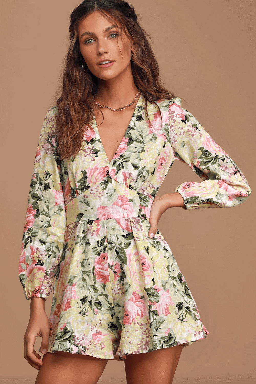 Wedding Guest Outfits White Floral Print Long Sleeve Romper What to Wear to a Wedding as a Guest 2