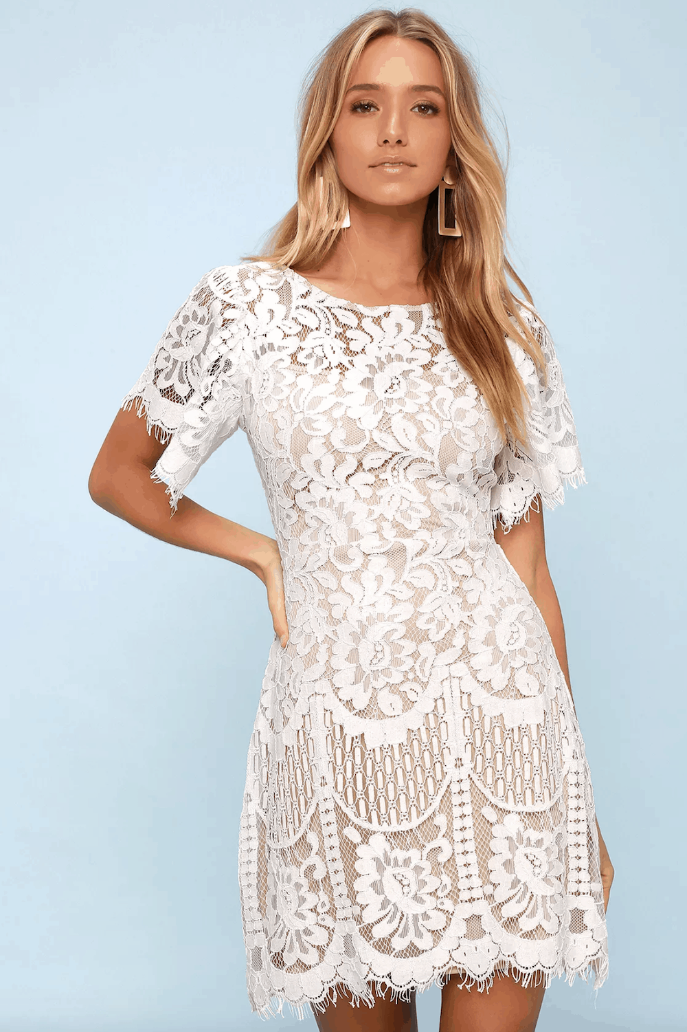 Wedding Shower Outfits Bridal Shower Dresses Pearson White Lace Short Sleeve Dress