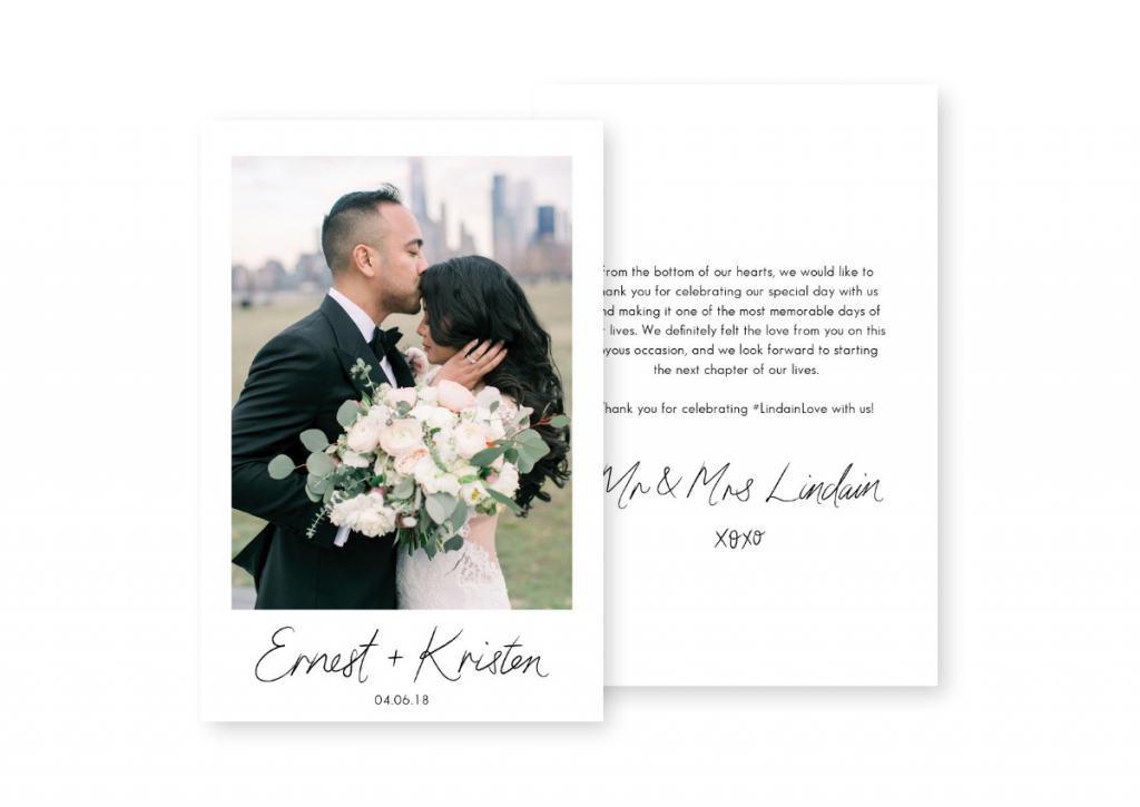 Wedding Thank You Card Photo Sydney Australia For the Love of Stationery