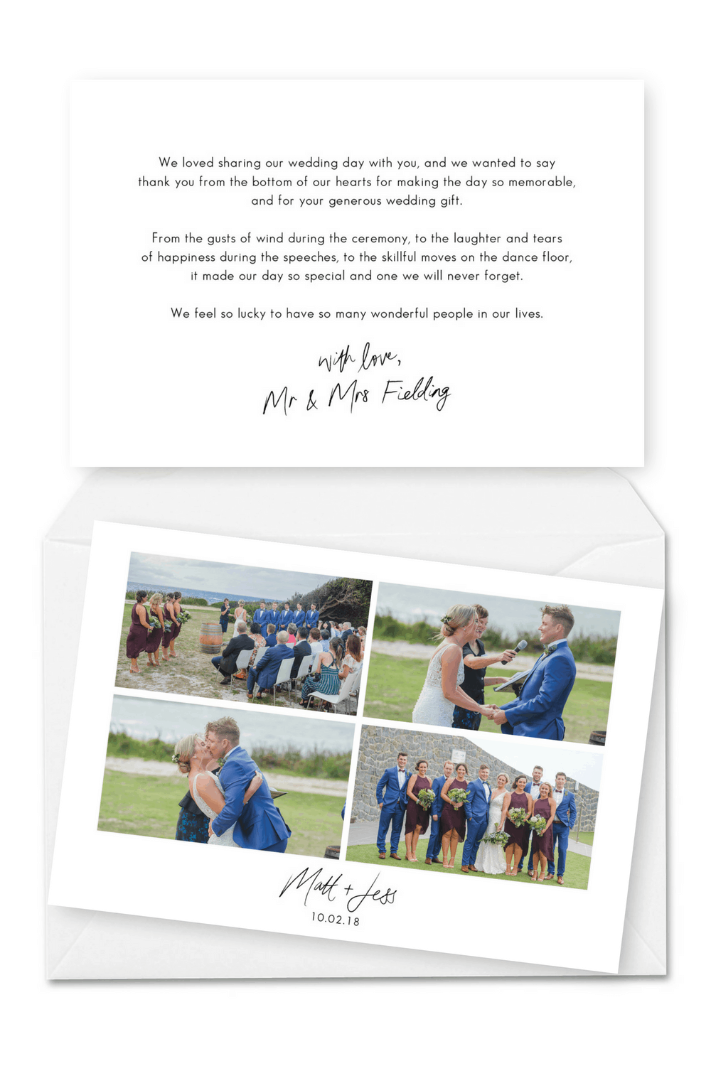 Personalised Wedding Thank You Cards With Photos For The Love Of