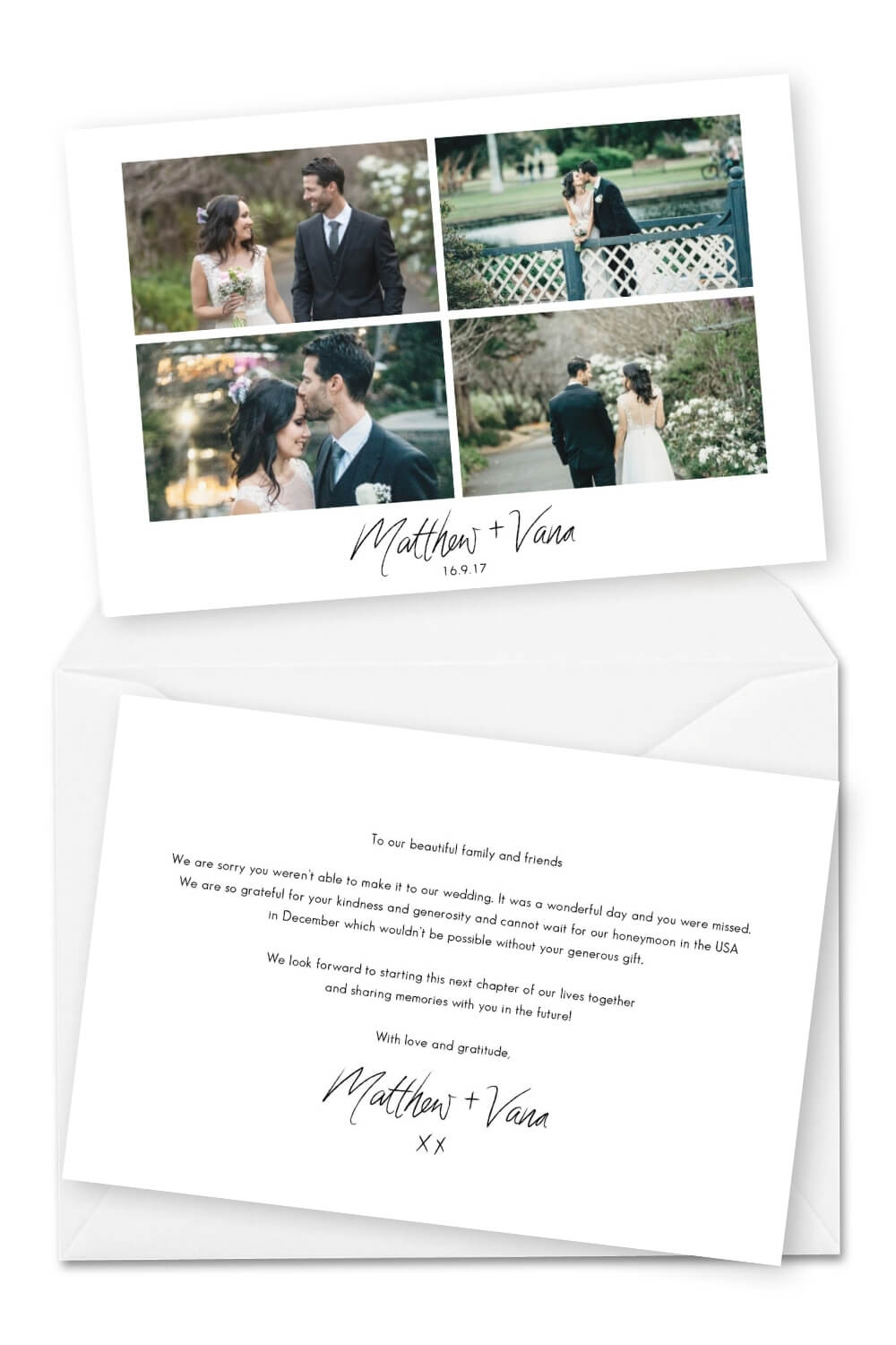 Wedding Thank You Card Wording for Someone Who Didn't Attend For the Love of Stationery T-one Image