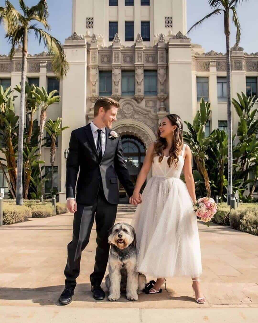 Wedding with Puppies Cute Wedding Puppy Beverly Hills Courthouse Melanee Shale Wolfgang (1)