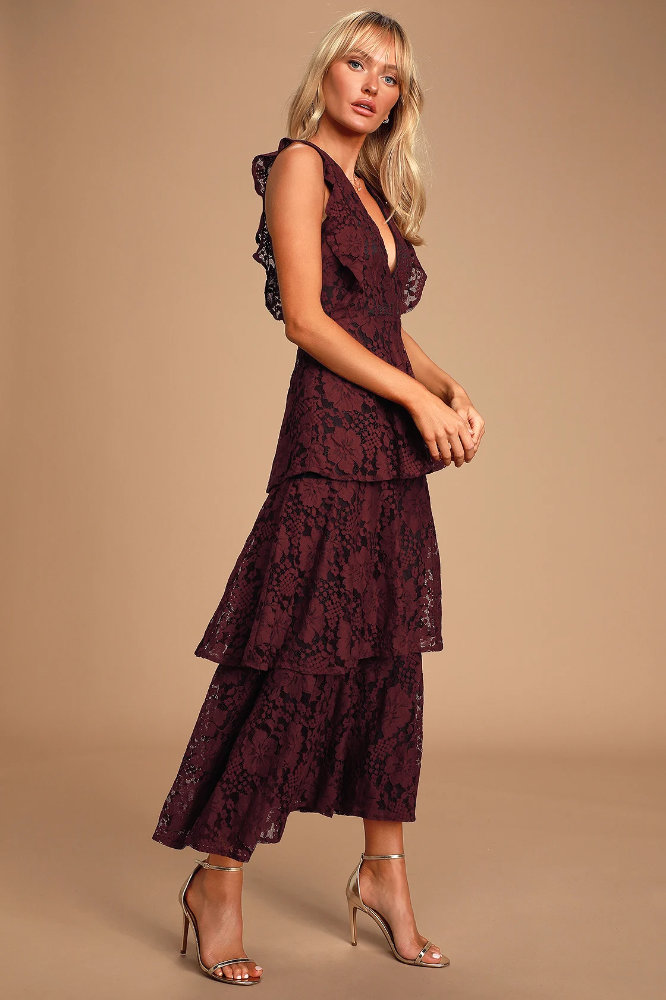 What to Wear to a Wedding as A Guest Burgundy Floral Lace Dress Lulus