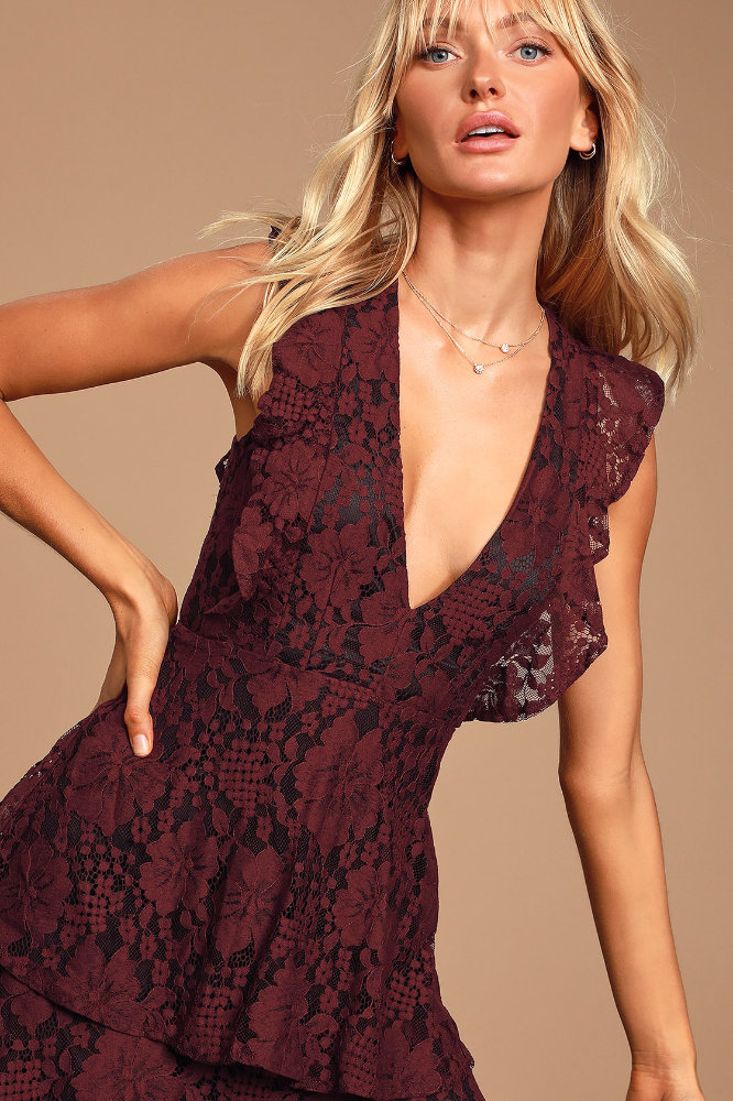 What to Wear to a Wedding as A Guest Female Burgundy Floral Lace Dress Lulus
