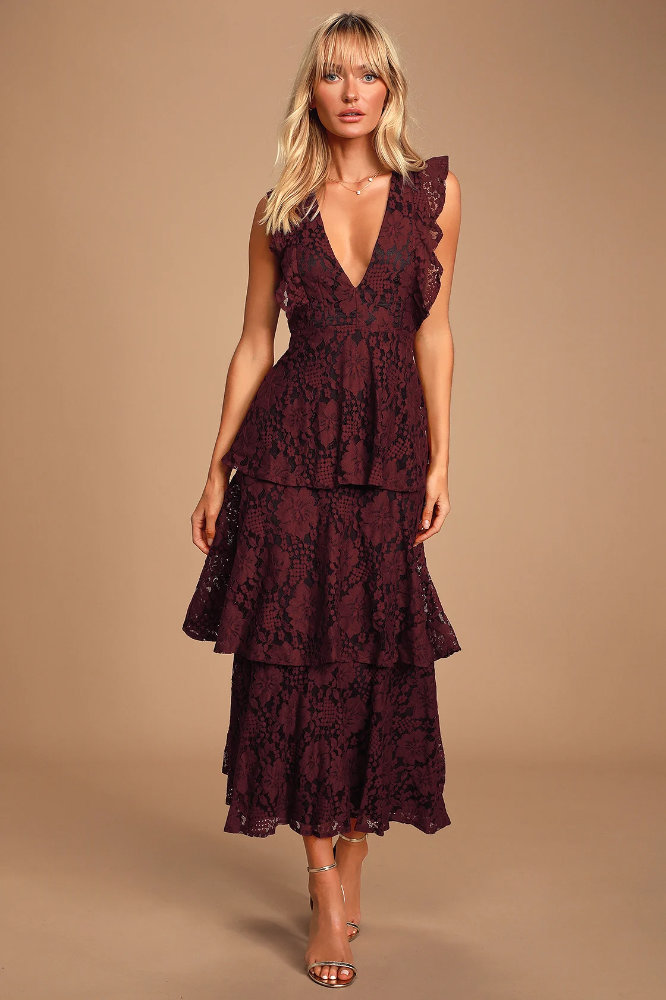 What to Wear to a Wedding as A Guest Female Burgundy Floral Lace Dresses Lulus