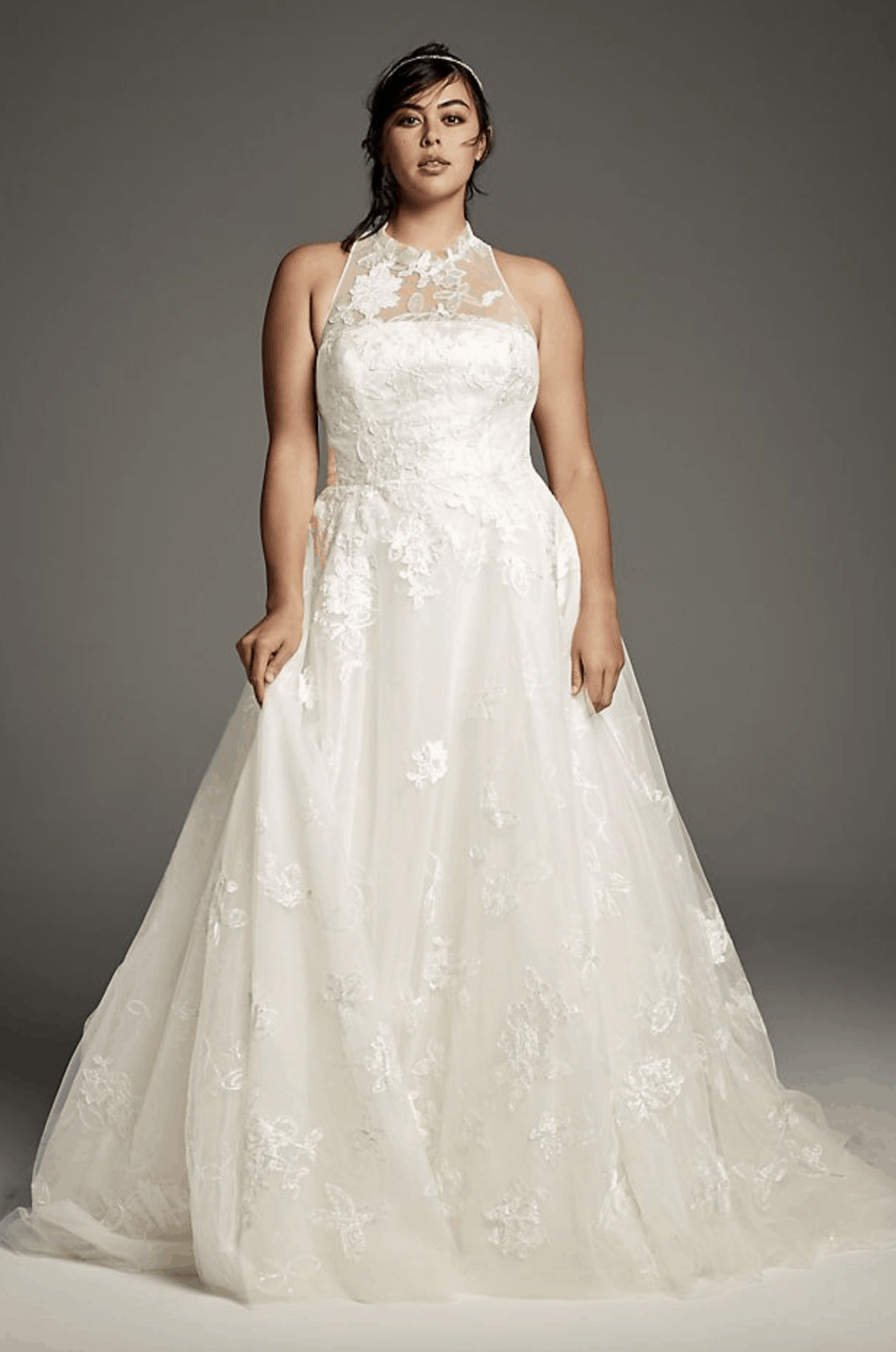 White by Vera Wang Floral Plus Size Wedding Dress Simple Plus Size Bridal Gowns