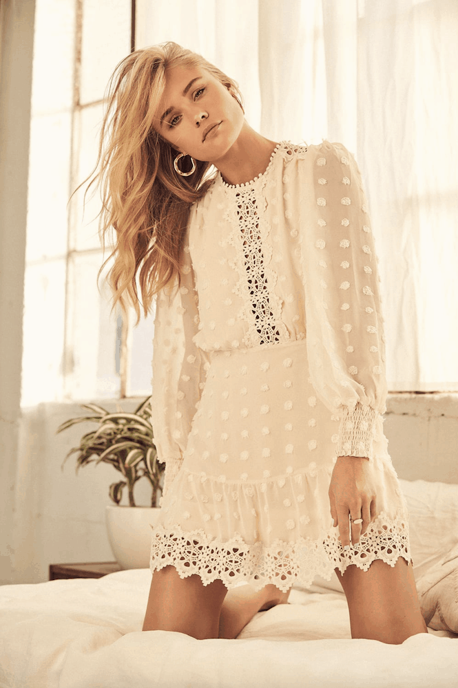 Winter Bridal Shower Dresses Cream Lace Long Sleeve Kitchen Tea Outfits for the Bride
