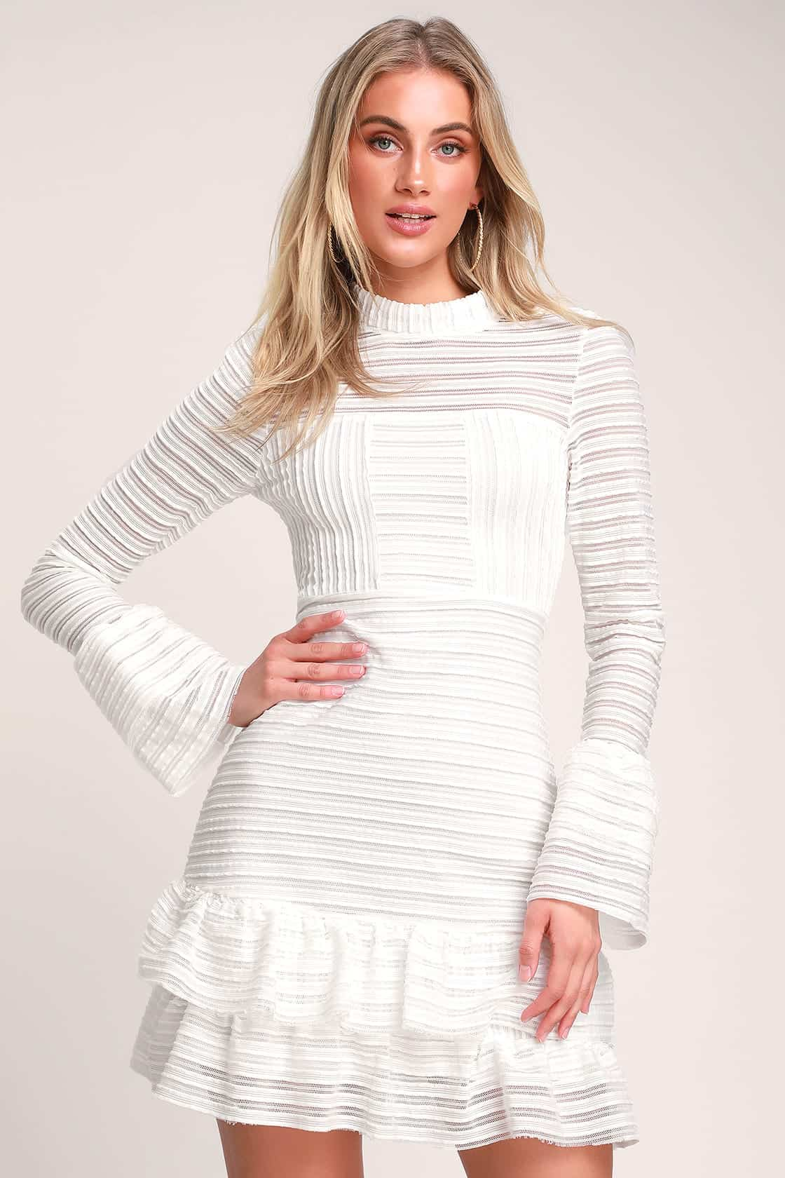 Winter Bridal Shower Dresses White Long Sleeve Cutout Dress Kitchen Tea Outfits for the Bride