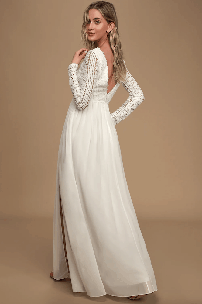 Winter Bridal Shower Maxi Dresses White Lace Long Sleeve Kitchen Tea Outfits for the Bride 2