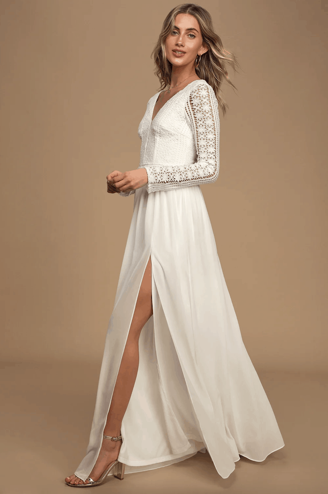 Winter Bridal Shower Maxi Dresses White Lace Long Sleeve Kitchen Tea Outfits for the Bride