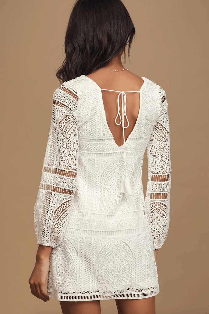Winter Bridal Shower Mini Shift Dresses White Lace Long Sleeve Kitchen Tea Outfits for the Bride 2