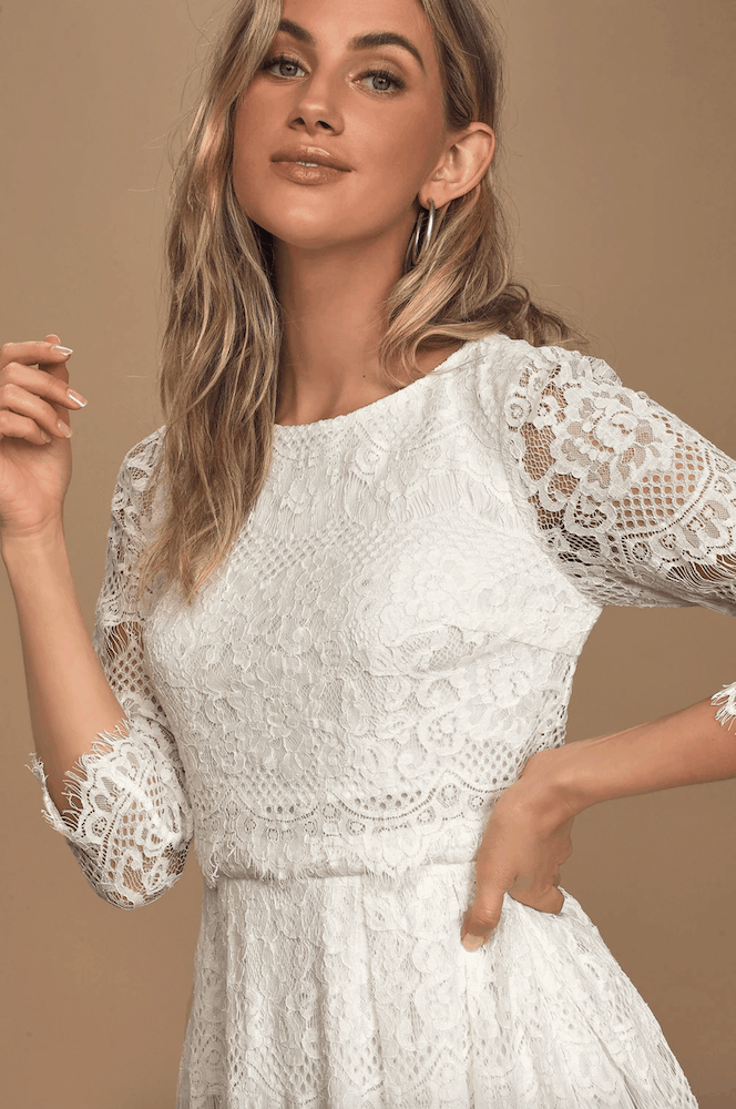 Winter Bridal Shower White Lace Midi Dresses Long Sleeve Kitchen Tea Outfits for the Bride 2