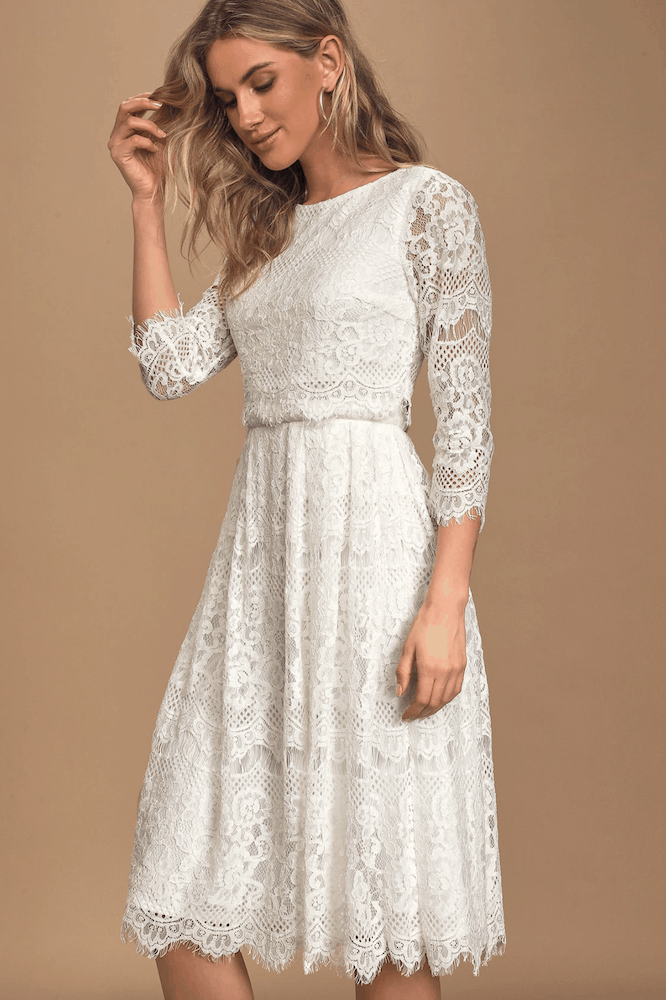 Winter Bridal Shower White Lace Midi Dresses Long Sleeve Kitchen Tea Outfits for the Bride