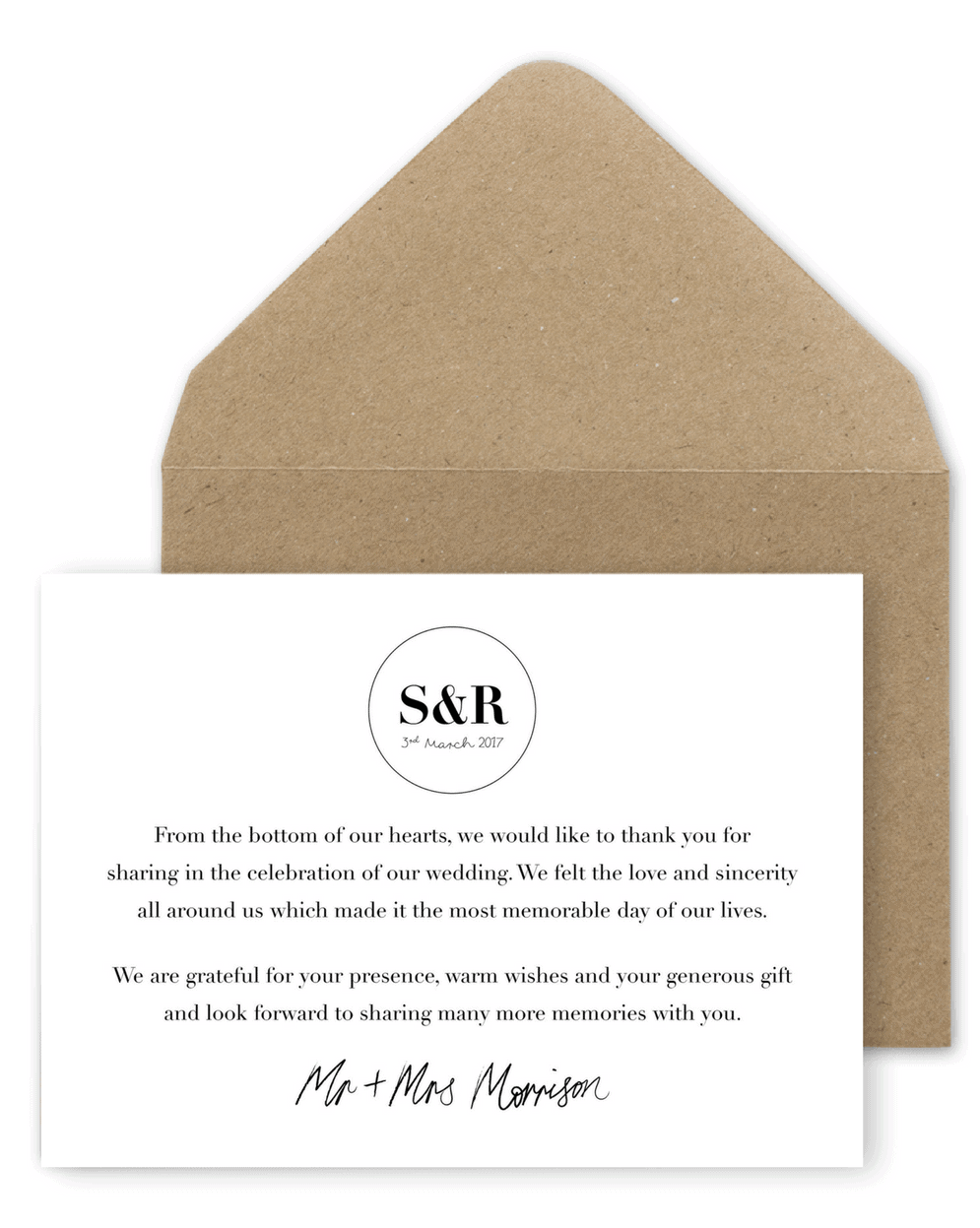 Wording Ideas For Your Wedding Thank You Cards