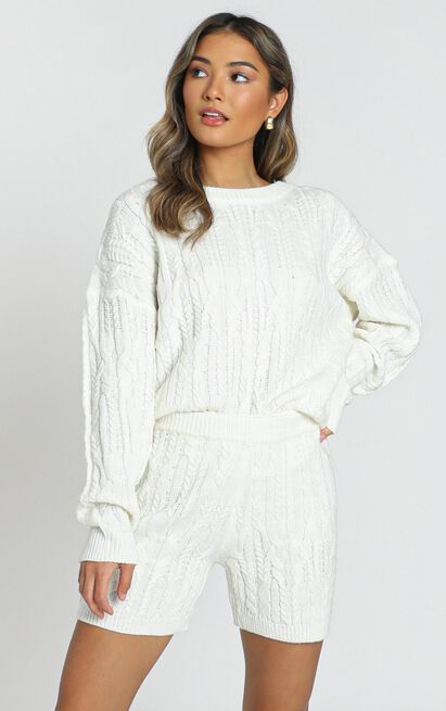 Work from Home Loungewear Pyjamas Quarantine Olivia Cable Knit Two Piece Set In Ivory 2