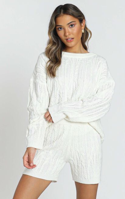 Work from Home Loungewear Pyjamas Quarantine Olivia Cable Knit Two Piece Set In Ivory