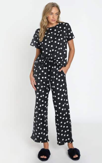 Work from Home Loungewear Pyjamas Quarantine Project REM Boxy Tee Set in Black Daisy 2